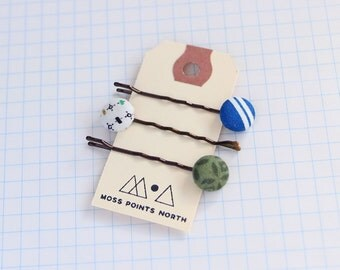 Fabric Button Hair Pins | Set of Three | Bobby Pins | Patterned Hair Pins