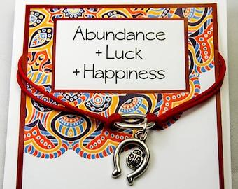 Inspirational Bracelet - Abundance - Luck - Happiness - Intention Bracelet Card - Ladybug Charm Bracelet -INT001