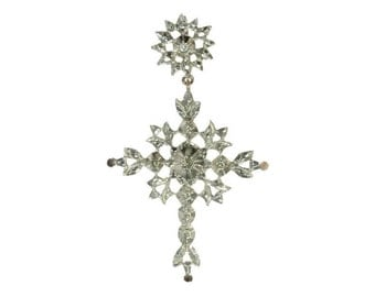 Antique Victorian silver cross pendant rose cut diamonds