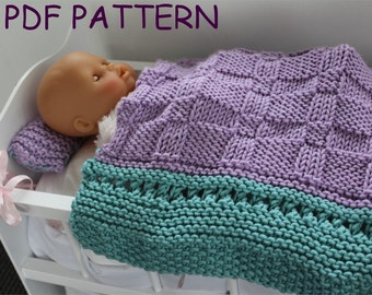 Baby Doll Blanket Knit Pattern : KNITTING Pattern Baby Doll Carrier knitting pattern PDF. DIY