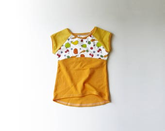 On Sale | 50% OFF | Size 12-18 Months | Fruits and Veggies Organic Cotton Baby Cap Sleeve Raglan Dress | Fruit | Vegetables | Girl | Babies