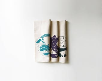Explorer Bundle Pack Kitchen Tea Towels | Pacific | Southwest | Atlantic | Set of three | Screen Printed | Dish Cloths | Housewarming