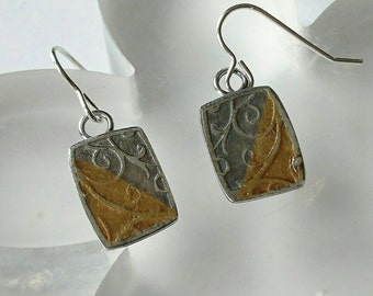 Sterling silver handmade embossed drop earrings with 24ct gold leaf, hallmarked in Edinburgh
