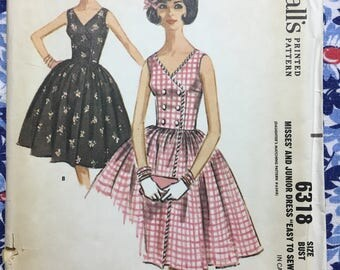 McCall's 6318 COMPLETE vintage pattern Copyright 1962 Darling spring/summer dress with full skirt Suze 14/34