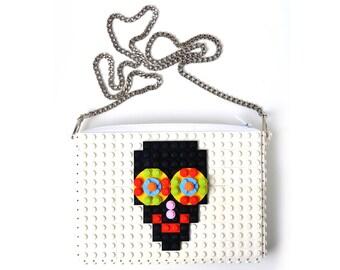 White crossbody purse with sugarskull made with LEGO® bricks FREE SHIPPING handbag trending fashion gift party wedding retro