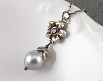 Tahitian pearl necklace, handmade fine silver and sapphire flower necklace-OOAK