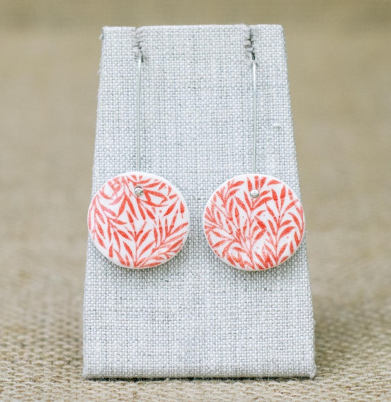 Red Porcelain Earrings with Bamboo Print, Mrs Peterson Pottery