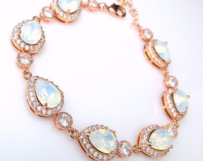 bridal bridesmaid jewelry wedding prom christmas party gift swarovski teardrop white opal crystal rhinestone cubic rose gold bracelet