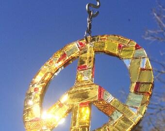 Sun Catcher, Sparkly Peace Sign, Gold Peace Sign, Mirror Mosaic Peace Sign, Peace Sign Garden Art, Peace Sign Sun Catcher, Ruby Peace Sign