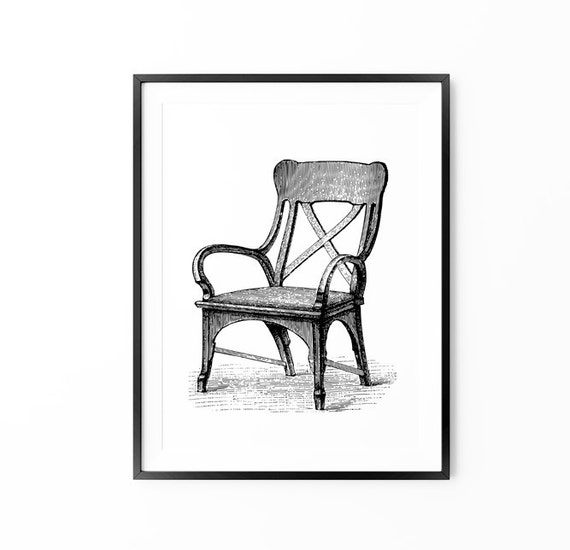 Vintage Art, Antique Chair Print, Interior, Black and White Print, Large Wall Art, Oversized Wall Art, Home Decor, Trending Items, Trending