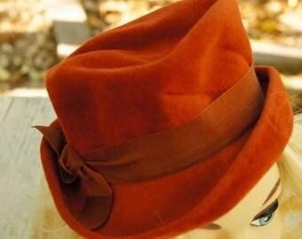 Vintage 40s-50s Women's Felt Fedora By Popular dry goods El Paso/Retro/Mid Century/High Fashion