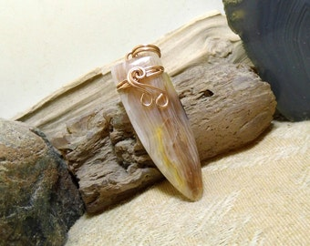 Wire Wrapped Bronze Opalized Wood Rustic Necklace Pendant Boho Mens Mans