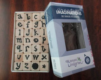 set of 28 mounted alphabet RUBBER STAMPS - Creative Imaginations, lowercase letters set, flowers