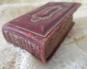 tiny antique gem album -1800s tintype album, red leather