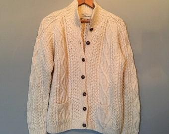 vintage irish wool cardigan sweater reserved tomboy101