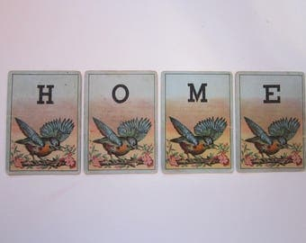4 antique letter playing cards - HOME - bird cards, heron cards, bluebird, victorian playing cards - display