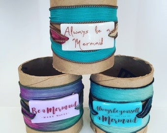 Be a Mermaid, Make Waves, Personalized Bracelet fused glass wrap bracelet on hand dyed silk ribbon, worry stone