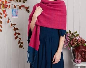 Large Knitted Shawl, Blanket Scarf, Knitted Wrap, Blanket Scarf, bright pink shawl, knitted shawl, blanket scarf wool, fair isle, knit shawl