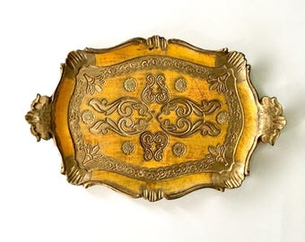 Vintage Gilded Gold and Yellow Goldenrod  Italian Florentine Tray gilt ornate tray