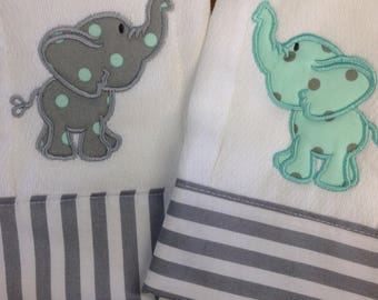 Burp cloth set, elephant, monogram