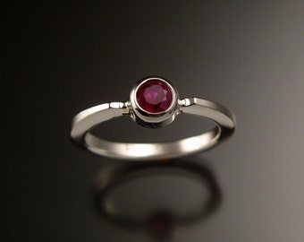 Ruby stackable ring Sterling Silver stackable ring made to order in your size