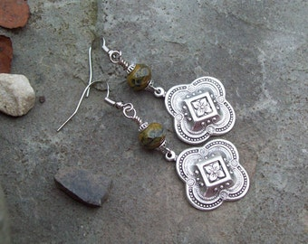 Sale - Simply Boho Chic Silver Medallion Metal Drop Earrings with Czech faceted earth tone glass