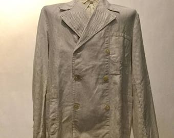 Vintage German Work Jacket Striped Double-Breasted(os-sewj-1)