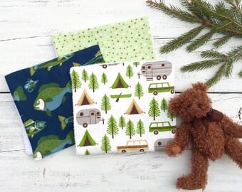 Boy Burp Cloths, Camping, Fishing  Baby Burp Cloth, Baby Shower Gift, Burp Cloth, Flannel Burp Cloth, Gift Set, VillageNorthBaby
