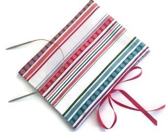 Circular Needle Organizer Striped Fabric Folding Needle Case Knitting Needle Storage Case with 12 Pockets Book Fold Case