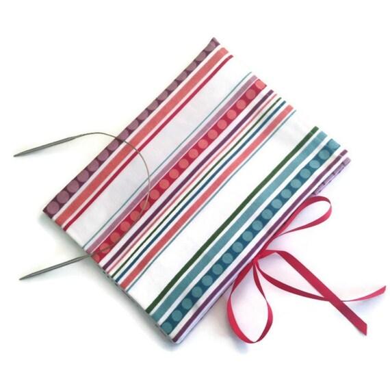 Circular Knitting Needle Storage Organizers : Circular needle organizer striped fabric folding