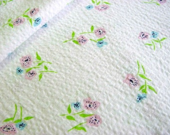"""Vintage 30s, 40s Rosy Posy Seersucker Fabric -Little Pink Blue Daisy Floral Flowers w Spring Green on White 36"""" wide BTY"""