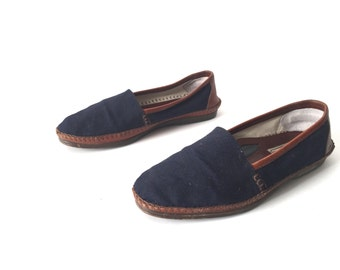 mens size 9 LEATHER tan navy blue 90s WOVEN slip on loafers made in BRAZIL