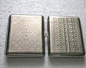 Two Ukrainian cigarette case business card holder metal wallet embroidery ornament from USSR Soviet Union protected