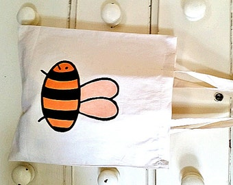 Bee Bag, Tote Bag, Insect, Bumble Bee, Cotton Tote, Shopping Bag, Eco Tote Bag, Reusable Grocery Bag