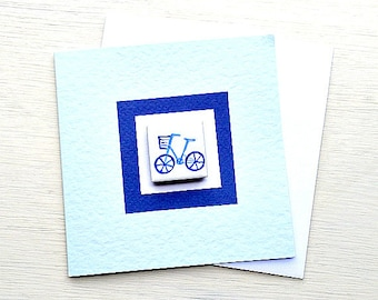 Bicycle Card Blue, Combi, VW, Birthday Card, Greeting Card, Blank Card, Magnet Card, Cycling Card