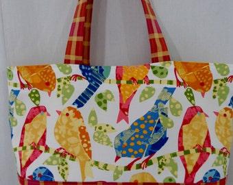 Beach BAG, Extra Large Tote, Knitting BAG, Large Shoulder Purse, Diaper BAG, Colorful Birds, Fun Tote, Pink Orange Plaid, Spring Summer