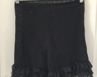 vintage black lace ruffle panties novelty burlesque bloomers lingerie shorts vlv