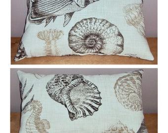Two Decorative Indoor Outdoor Driftwood Brown Fish Sea Shell Beach Lumbar Pillows