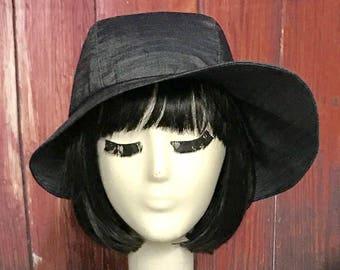 Cloche Hat Asymmetrical, Denim Cloche, Sun Hat, Wide Brim Hat, Packable Hat, Travel Hat, Summer Hat