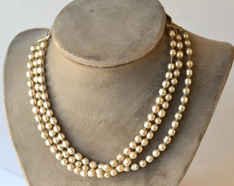 Multi Strand Pearl Necklace Faux Freshwater Pearl Necklace Choker