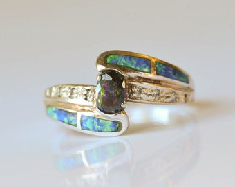 Opal and Mystic Topaz Ring Sterling Silver Ring Sz 8.25 Fire Opal and Mystic Topaz