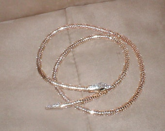 Vintage Gold Metal Mesh Snake Necklace or Belt