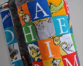 Baby Blanket, X LARGE, Snuggle Size, Dr. Seuss Alphabet and Turquoise Minky