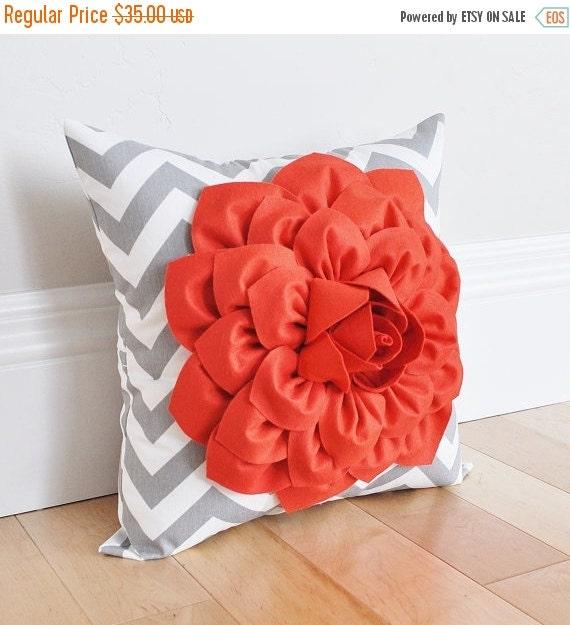 SALE Coral Dahlia on Gray and White Zigzag Pillow -Chevron Pillow- Baby Nursery Pillow