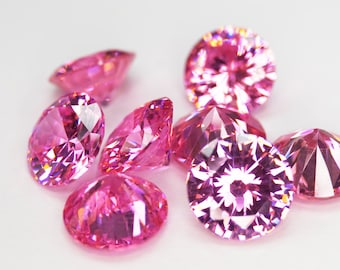 Round Faceted Pink Cubic Zirconia (10 Piece parcels)