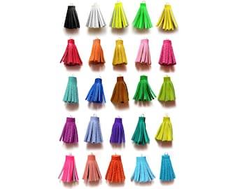 1 Inch - Handmade Mini Tassels, Short Leather Tassels, Craft Tassels, Rainbow Colors, Jewelry Making Supplies, Crafting Supply