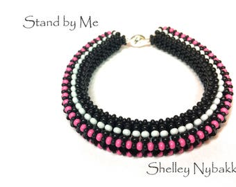 Stand by Me Bracelet DIY Kit  -  Black/White and Pink