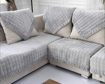 Light Grey Flannel Sofa Cover Warm Couch Slipcover Gray Loveseat Cover Winter Home Decor