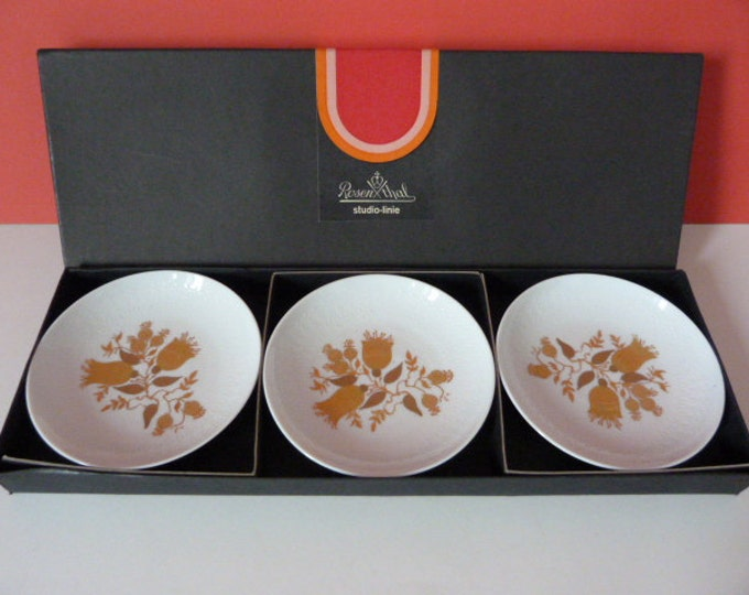 3 x Bjorn Wiinblad Rosenthal Studio Line Romanze Pin Dishes Gold  Germany