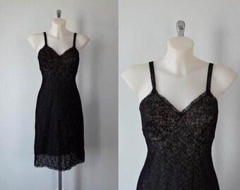 Vintage Black Full Slip, Vintage Black Lace Full Slip, St Michael Lingerie, 1960s Lace Slip, Full Slip, Vintage Full Slip